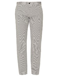 Maison Kitsune Jay Straight Leg Seersucker Trousers Navy Multi