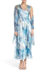 Komarov Women's A Line Chiffon Dress With Shawl