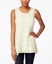 Styleandco. Style And Co. Petite Sleeveless Lace Swing Top Only At Macy's Vintage Cream