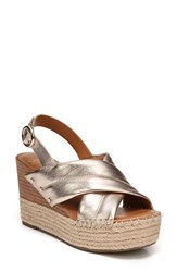 Sarto By Franco Sarto 'S Niva Espadrille Wedge Sandal Platinum Leather