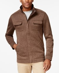 Tasso Elba Big And Tall Fleece Sweater Jacket Only At Macy's Espresso