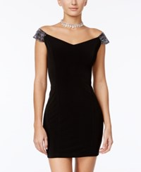 Crystal Doll Juniors' Embellished Off The Shoulder Bodycon Dress Black