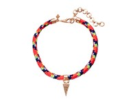 Rebecca Minkoff Climbing Rope Choker Necklace With Charm Drop Rose Gold Neon Pink Multi Necklace Brown