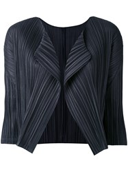 Issey Miyake Pleats Please By Cropped Blazer Women Polyester 5 Blue