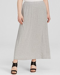 Vince Camuto Plus Striped Maxi Skirt Light Heather Grey