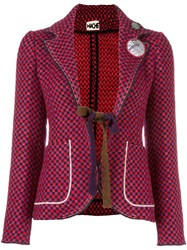 Hache Checked Fitted Jacket Red