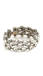 Ben Amun Three Row Crystal Bracelet Clear Silver