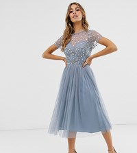Maya Cap Sleeve Floral Embellished Midi Prom Dress In Dusty Blue