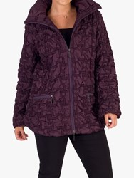 Chesca Bonfire Embroidered Quilted Coat Plum