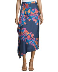 Tanya Taylor June Silk Twill Diagonal Pop Midi Skirt Indigo Indigo Multi