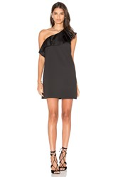 Cynthia Rowley Satin Ruffle Mini Dress Black
