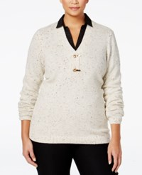 Charter Club Plus Size Henley Sweater Only At Macy's Oatmeal Combo