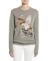Ralph Lauren Embroidered Eagle Long Sleeve Cashmere Sweater Gray