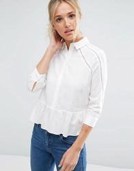Asos Lace Insert Blouse In Soft Twill Cream