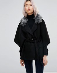 Wal G Cape With Faux Fur Trim Black