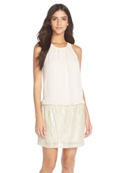 Aidan By Aidan Mattox Chiffon And Beaded Mesh Blouson Dress Champagne