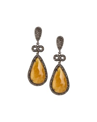 Bavna Pear Shaped Yellow Sapphire And Diamond Drop Earrings