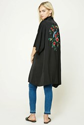 Forever 21 Contemporary Satin Kimono Black Red