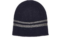 Barneys New York Men's Striped Wool Blend Beanie Dark Grey