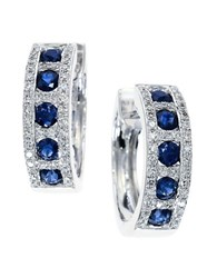 Effy Royale Bleu Sapphire Diamond And 14K White Gold Hoop Earrings Sapphire White Gold