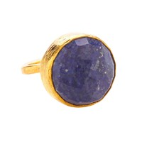 Ottoman Hands Lapis Circle One Stone Ring Blue Gold