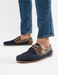 Red Tape Boat Shoes In Navy Suede
