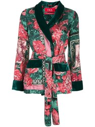 F.R.S For Restless Sleepers Floral Print Smoking Jacket Green