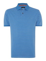 Army And Navy Hendre Stripe Polo Shirt Cornflower
