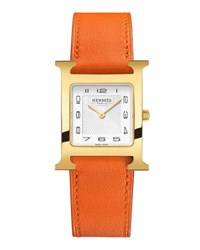 Hermes Heure H Pm Watch With Orange Leather Strap