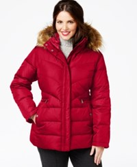 Larry Levine Plus Size Faux Fur Trim Hooded Puffer Coat Red