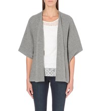 The White Company Ribbed Poncho Cardigan Grey Marl