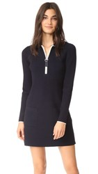 Grey Jason Wu Long Sleeve Polo Dress Midnight Cream