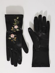 Gucci Floral Embroidered Gloves Black