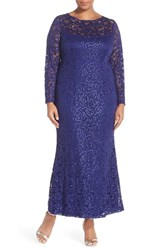 Plus Size Women's Marina Illusion Yoke And Long Sleeve Lace Gown