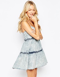 Influence Denim Cami Tiered Swing Dress Blue