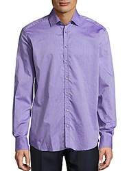 Sand Cotton Printed Long Sleeve Shirt Purple