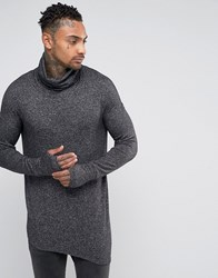 Black Kaviar Cowl Neck Long Sleeve T Shirt With Asymetric Hem Black
