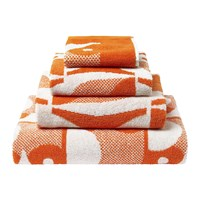 Orla Kiely Owl Towel Papaya Orange