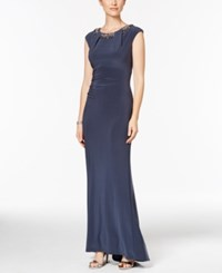 Vince Camuto Embellished Cap Sleeve Gown Grey