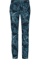 Marc By Marc Jacobs Printed Crepe Slim Leg Pants Turquoise