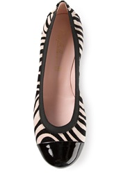 Pretty Ballerinas Zebra Striped Ballerinas Black