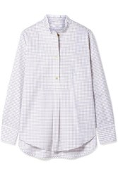 Atlantique Ascoli Ruffled Checked Cotton Twill Shirt Ivory