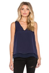 1. State Short Sleeve Double Layer Tank With Chiffon Navy