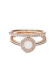 Fossil Rings Rose Goldtone Stone Glitz Stackable Ring W Strass And Glass Stone