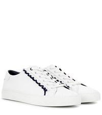 Tory Burch Ruffle Embellished Leather Sneakers White