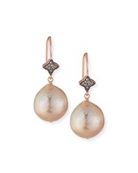 Margo Morrison Rose Golden Baroque Pearl And White Sapphire Drop Earrings