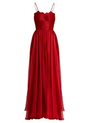 Maria Lucia Hohan Marianne Laced Back Silk Gown Red