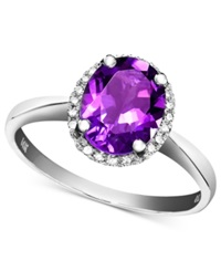 Macy's 14K White Gold Ring Amethyst 1 1 2 Ct. T.W. And Diamond Accent Oval