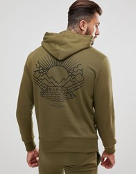 Friend Or Faux Tempest Back Print Hoodie Green