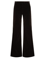 Goat Countess Wide Leg Stretch Cotton Velvet Trousers Black
